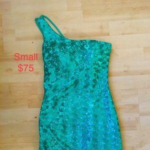 Mini Aqua Blue/ Seafoam  Sequin Dress